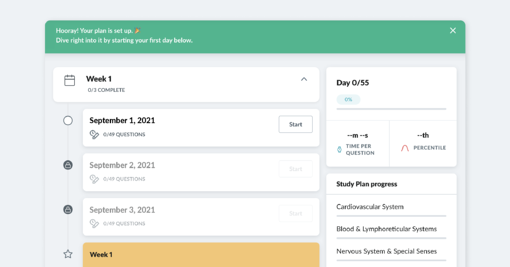 The image shows a complete customized study plan in the AMBOSS platform.