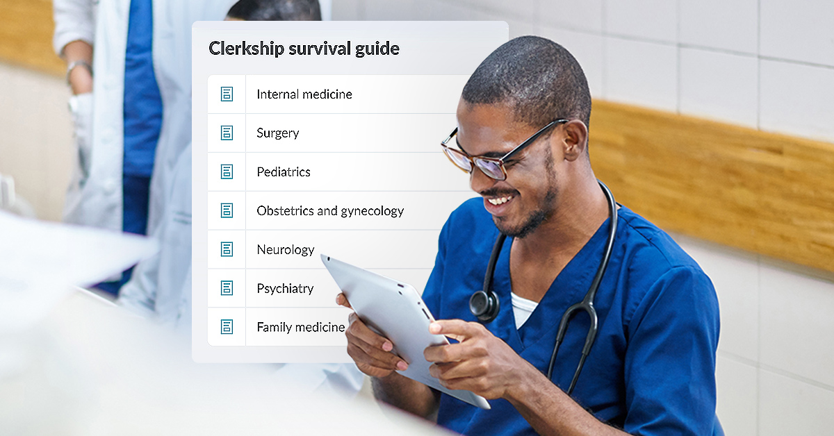 A medical student uses AMBOSS during his clerkships.