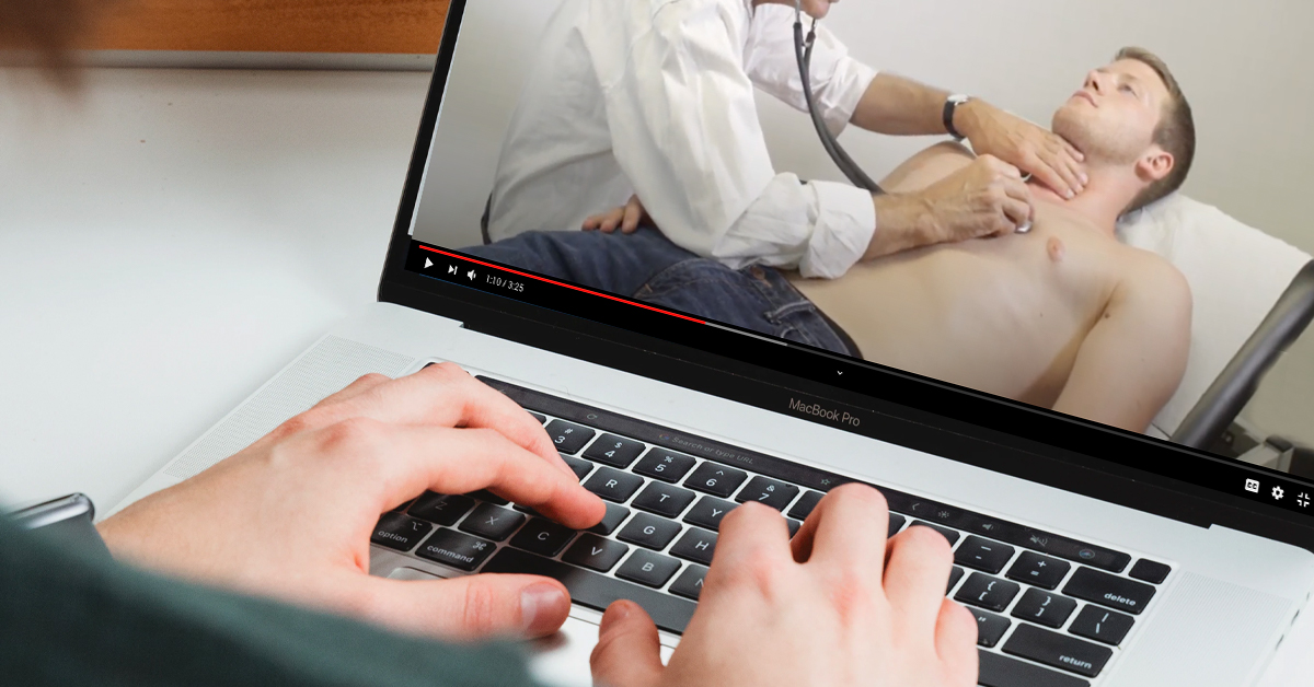 watching clinical examination video from home