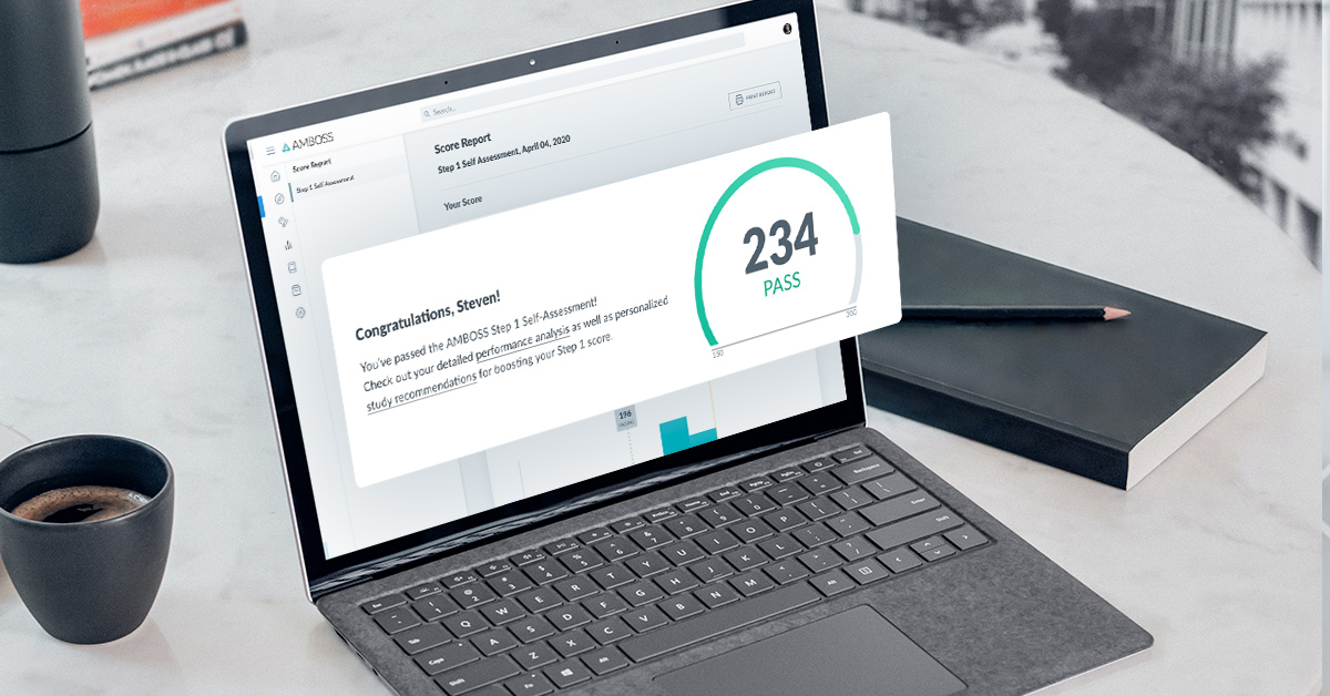A laptop screen shows a 3-digit self-assessment score.