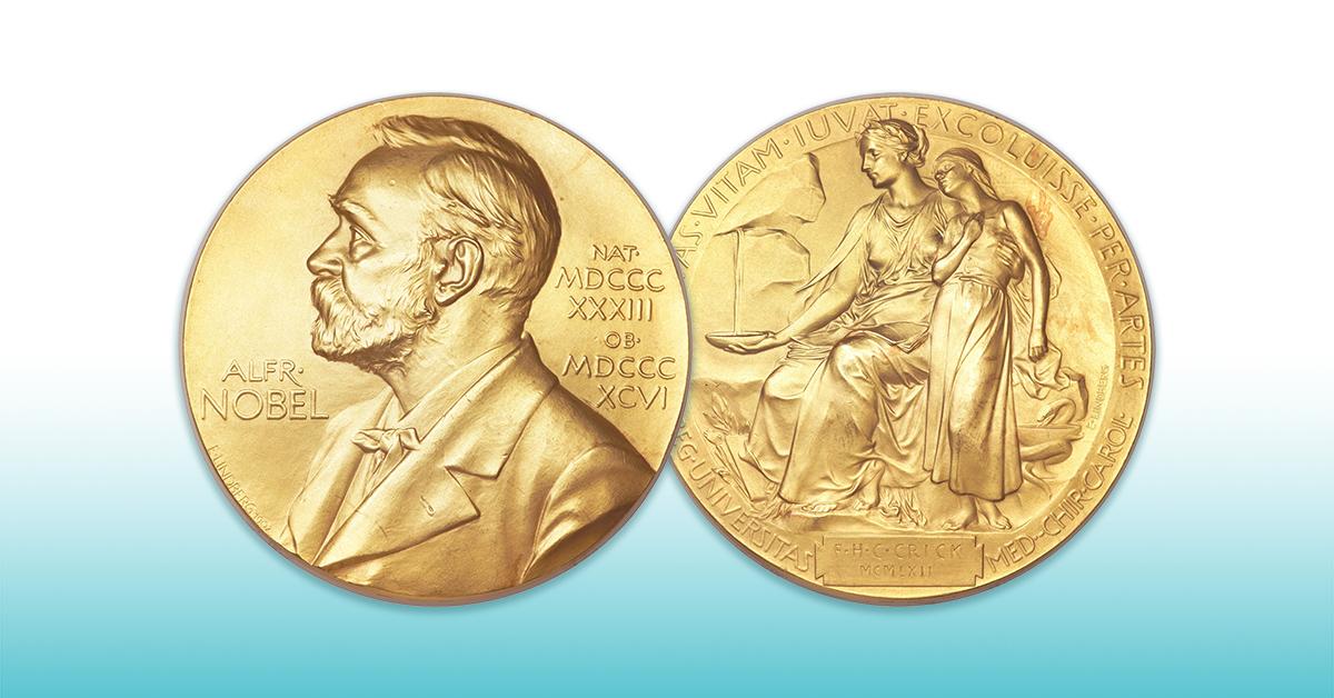 Vorder- und Rückseite einer Alfred Nobel Goldmünze