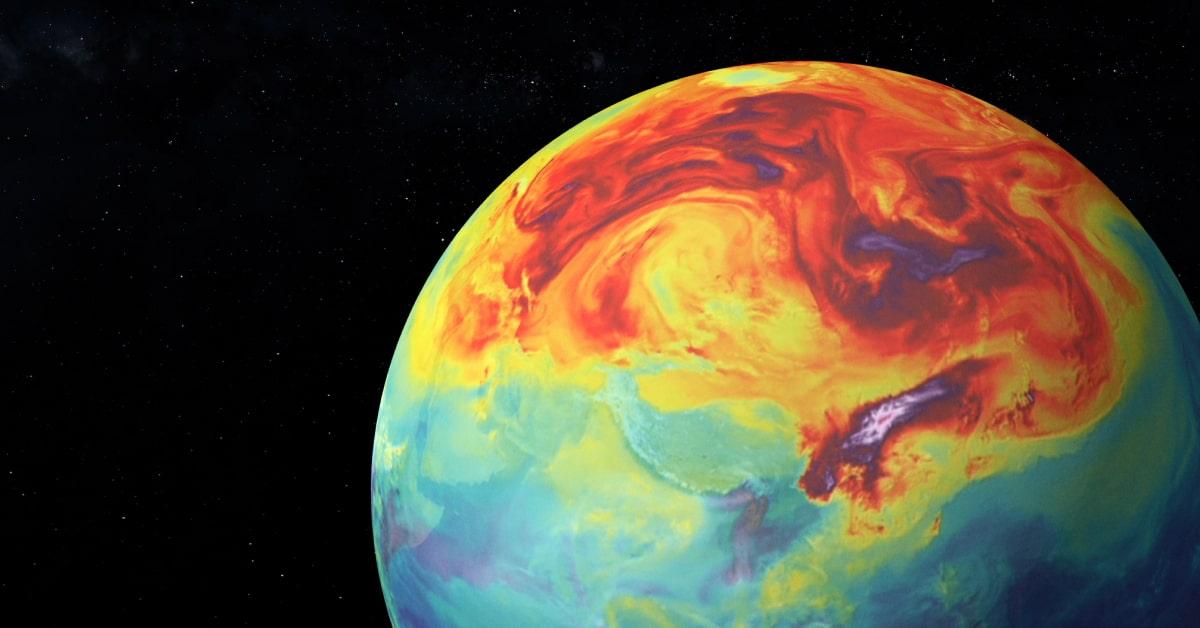 Die überhitzte Erde im Weltall.